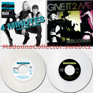 "MADONNA 4 Minutes / Give It 2 Me - 2008 US 7"" White Vinyl Doublepack (7-511949 / 5439-19931-2)"