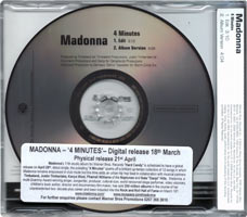 MADONNA 4 Minutes - 2008 UK 2-trk Promo CD (PR017108)