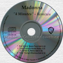 MADONNA 4 Minutes - 2008 US Mispressed Promo 4-trk CD-Reference (04/08/08)
