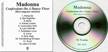 MADONNA CONFESSIONS ON A DANCE FLOOR Non-Segued Version USA In-House Promo CD-Reference