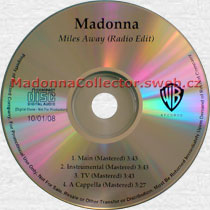 MADONNA Miles Away (Radio Edit Master) - US In-House 4-trk Promo CD-Reference