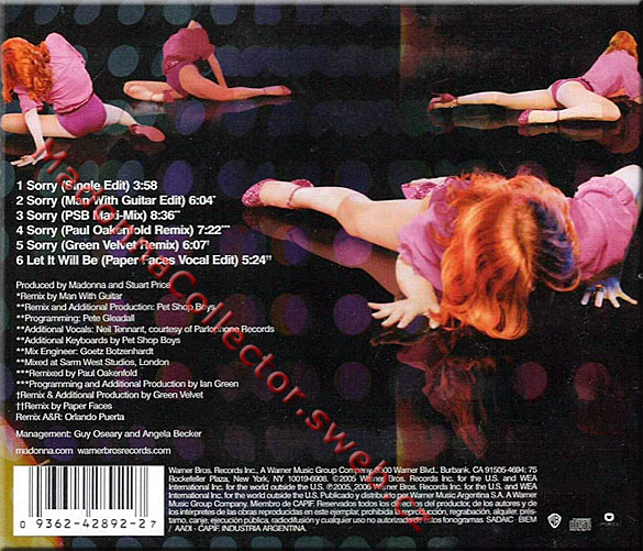 MADONNA Sorry CD Argentina