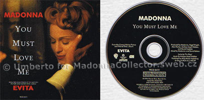 MADONNA You Must Love Me Argentinean Promo CD